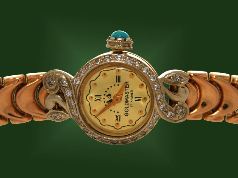 Золотые часы с браслетом Ч-002